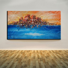 Two Mainly Colors Abstract Landscape A Town Float In Seas Unique Landscape Oil Painting On Canvas For House Decoration