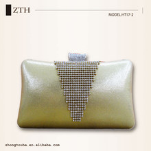 Wholesale pu women fashion rhinestone golden evening clutch box