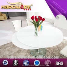 8 seater space saving table high gloss round white modern dining table
