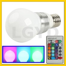 E27 3W RGB Flash LED Light Bulb with Remote Controller, AC 85-265V, Luminous Flux: 240-270lm
