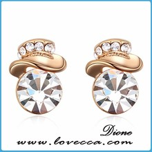 18 k real gold platings earrings stud drop make with swarovski elements for lady