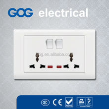 Latest developing 2 gang universal electric switch and socket PC switch socket