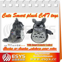 Light control rolling and laughing cute mini grey cat, animated stuffed animal plush toy