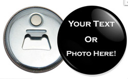 "2.25"" Black Round Shaped Custom logo bottle opener fridge magnet"