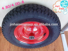 pneumatic small rubber wheel 4.80/4.00-8 bend& straighr valve