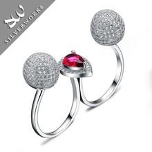 18K White Gold Plated Diamond Girls Ring Double Finger Ring Wholesale