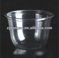 10oz/300ml eco-friendly disposable plastic jelly cup, new design clear and transparent take away dessert container with cover