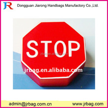 Funny red color polygon pu foam toy with stop label