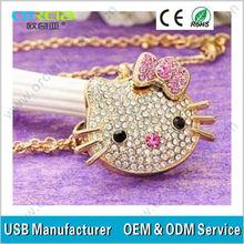 cat shape 100% original full capacity small animal diamond drive/ Luxury diamond usb flash drive
