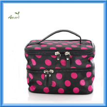 2015 Unique Dots Pattern Double Layer Cosmetic Bag