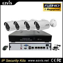 Outdoor Wireless Wifi 720P HD 1mp IP camera 4ch NVR Kits CCTV Camera Security system,poe nvr kit