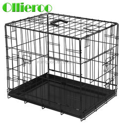 Black Color 2 Doors Metal Folding Dog Cage with Removable Plastic Handle