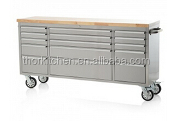 72 inch heavy duty painted/ galvanized drawer tool chest with fine rubber wood top