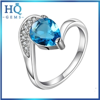 factory women rings Chirstmas 925 Silver Ring blue zircon ring
