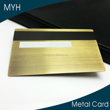 Luxury quality magnetic stripe, signature stripe gold platiing brushed metal business cards