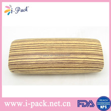 Metal hard wooden color eyeglass case leather make eyeglass case with grain