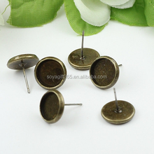 8-16mm Antique Bronze Tray Settings Earrings Stud Blank Base Round Cabochon Bezels For Jewelry DIY