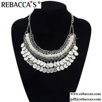 Fashion Coin Collar Fringe Chain Necklace Bohemian Silver Statement Handcraft Ethnic Necklaces 2015 Turkish Jewelry