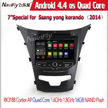 Quad Core Android 4.4 Radio de coche GPS para Ssangyong Korando 2014 nueva Actyon Radio DVD wifi 16 G nand