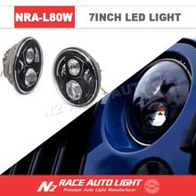 7 inch 40W Halo Ring Angel Eyes Headlight IP68 High Low Beam LED Work Light For Jeep Wrangler/ G55/ Harley