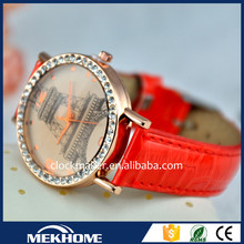 kc diamond leather strap fashion watch women
