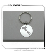 Rounded silver dog tag Personalized Heart in any City italy keychain
