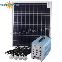 80W/18V with 5pcs 5w lamp solar lighting kit