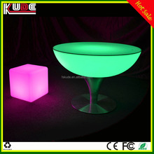 Wedding party plastic low round table with LED lighting colorful