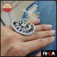 Black Resin Stone Big Hoop Silver Alloy Finger Ring RR12525