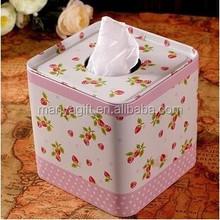 Fresh strawberry Tin Tissue Box Square Roll Paper Tube Napkin Storage Box Kitchen paper box Toilet Paper Case napkin cover tissu