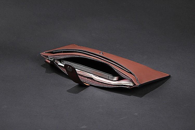 Бумажники кожаные личности прохладном бренда для мужчин, с молнией Телефон сумка, hasp моды Многофункциональные карманы
