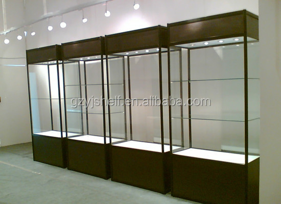 case wooden jewelry display stand glass wall shelf with sliding door