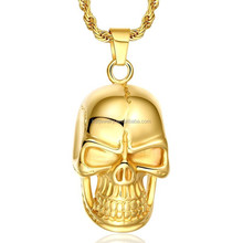 Alibaba china wholesale stainless steel biker jewelry, skull pendant necklace for men