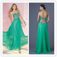 OC-2324 A-line girls green pageant dress elegant green dresses chiffon dresses for maid of honor