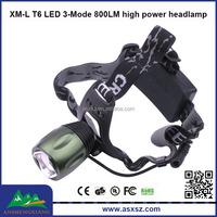 XM-L T6 LED head lamp 3-Mode 800LM High Power Focus Zoom LED Headlamp