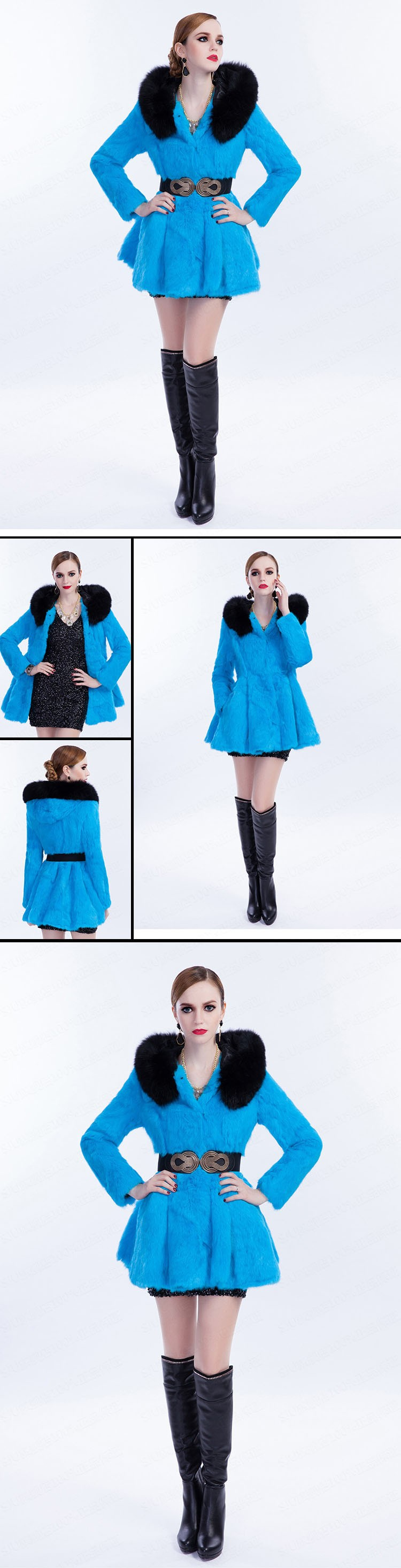 Новая Голландия кролика шуба сгустить теплый мех юбка пальто с капюшоном женщин тонкий меха куртки h 0242