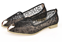 2015new products fashion ballerinas shoes mesh fabric with beads shoes metal ornament