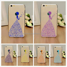 Luxury Bling Diamond Cover Fancy Wedding Dress Case For iPhone5 5S Transparent Crystal Case PC Cover For Iphone 5 5S