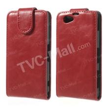 Vertical PU caja de la PC para Sony Xperia Z1 compacto D5503 piel del cuero-rojo