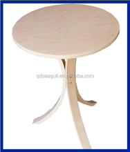 Useful furniture wooden frame round top coffee table with three legs