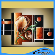 Simple Design Handmade Painted Abstract Flower5Pieces Group Flower Oil Painting