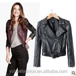 Slim leather jacket PU leather women's motorcycle,european leather motorcycle jackets