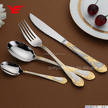 Top quality stainless steel silver and gold cutlery set / spoon set in wooden box for cutlery