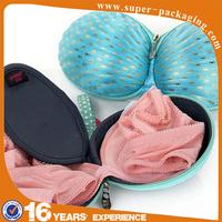 2015 New product custom packaging hard EVA shell shape Wave point pattern bra bag for girls