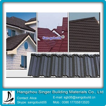 grey flat style villa stone coated metal tile roofing