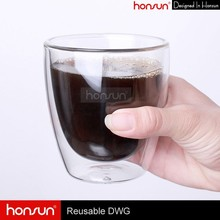 500ml Cheap Unbreakable Clear Double Wall Glass Coffee Cups for Sale