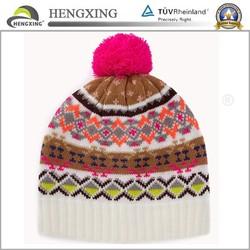 Wholesale acrylic custom beanie hat with pom pom