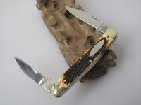 traditional classic premium nobleman faux deer stag handle minuteman 2 blade folding pocket knife