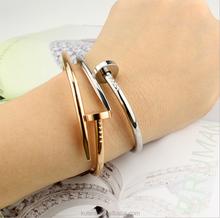Multi-color Stainless Steel Thin Nail Bracelet Girls 22K Gold Bangles