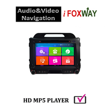 Touch screen sportage car dvd gps 2 din with dual zone function and free mirro link
